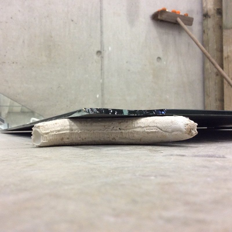 Test install for talk week. Plaster banana cast, broken mirror, 2015
